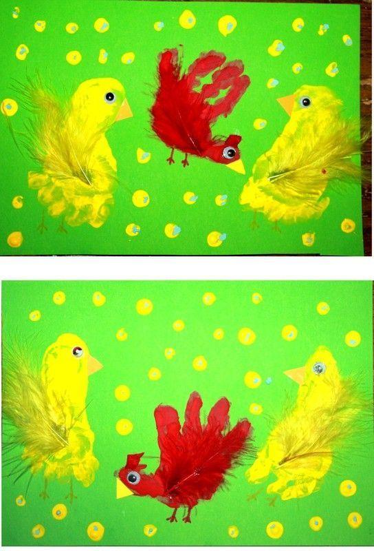 Bricolage de p ques quatre poussins de couleurs en pompon pictures to pin on pinterest - Poussin en pompon ...